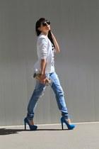blazer - jeans - shirt - bag