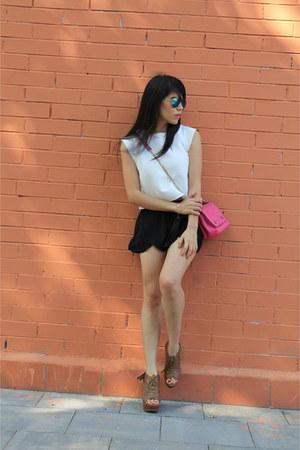 burnt orange Primark shoes - hot pink Zara bag - white suiteblanco top