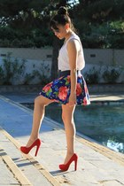 skirt - red shoes - white shirt