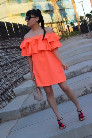 carrot orange Aliexpress dress - black sammydress sandals