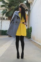yellow mayitapink dress - charcoal gray pull&bear jacket - black Primark pumps