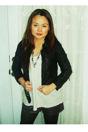H&M jacket - Ross blouse - Forever 21 shorts - black Guess shoes