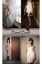 light blue robins egg Sarah Seven dress - white powdered sugar Sarah Seven dress
