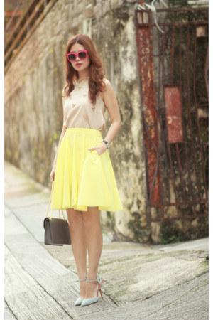 yellow COS skirt - periwinkle Sophia Webster heels