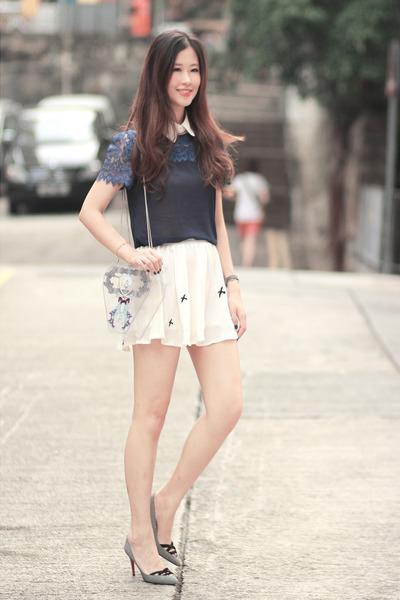 navy stephies shop top - deep purple Flux bag - white romwe skirt