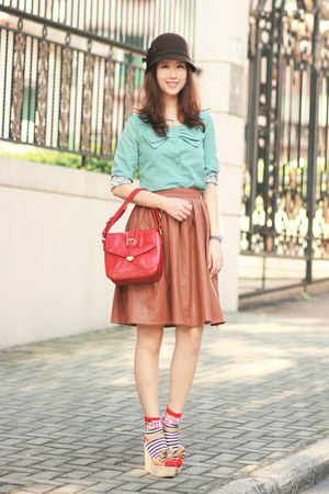 tawny Chicwish skirt - aquamarine Global Citizen jacket - red Joy & Peace bag