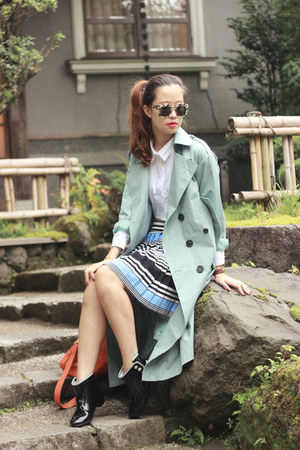 light blue Front Row Shop skirt - sky blue Front Row Shop coat