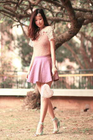 white romwe socks - eggshell Chicwish dress - light purple Yesstyle skirt