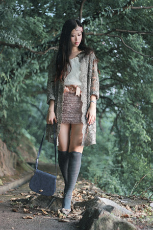 heather gray vintage coat - light pink no brand skirt - navy from Korea bag - be