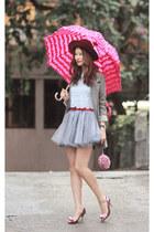 periwinkle ianywear skirt - heather gray romwe jacket - magenta Ipa Nima bag