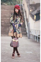 gold kari ang shoes - bronze snidel dress - green lagunamoon coat - dark brown a