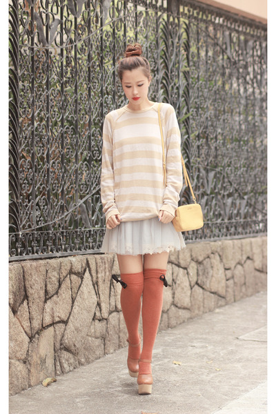 mustard Miu Miu bag - burnt orange awwdore socks - periwinkle Chicwish skirt