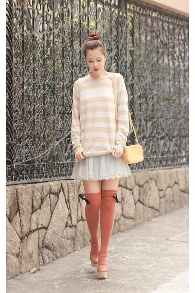 mustard Miu Miu bag - burnt orange awwdore socks - periwinkle Chicwish skirt