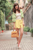 mustard romwe bag - yellow Yesstyle shorts - lime green See by Chloe cape