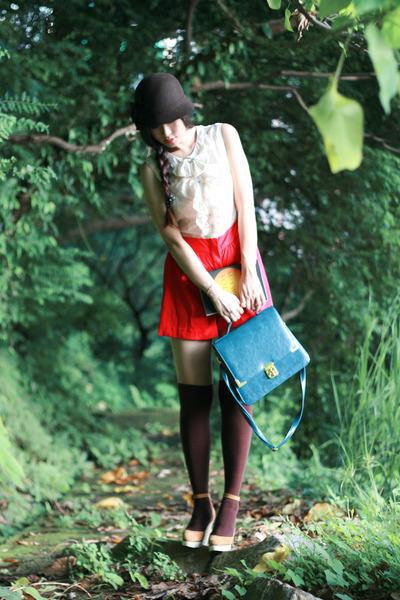brown BCBG hat - red Miss Selfridge dress - beige Chloe shoes