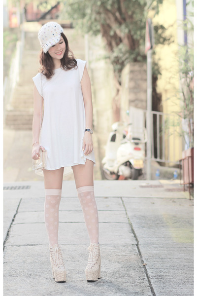 white Yesstyle dress - white romwe hat - ivory American Apparel socks