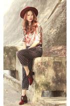 brick red McQ boots - black romwe pants