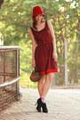 Maroon-rose-tatu-dress-black-paul-joe-heels