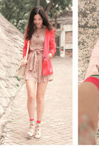 red seven connection blazer - pink Drama dress - pink edwina shoes