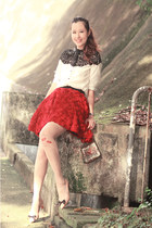 black Choies shirt - red Chicwish skirt - ivory Yesstyle stockings