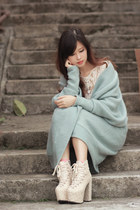 white Chicwish top - off white sleeh boots - aquamarine Yesstyle cardigan