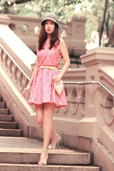 bubble gum H&M dress - lime green YSL heels