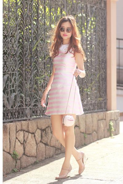 cream kate spade bag - bubble gum Choies dress - white the layers accessories