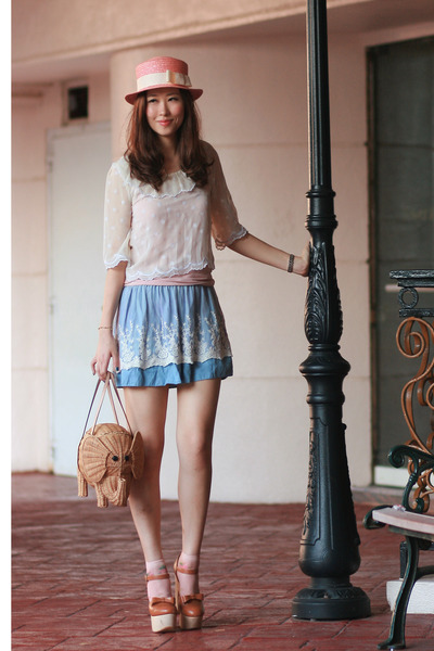 light pink heather hat - camel kate spade bag - peach socks - light blue skirt