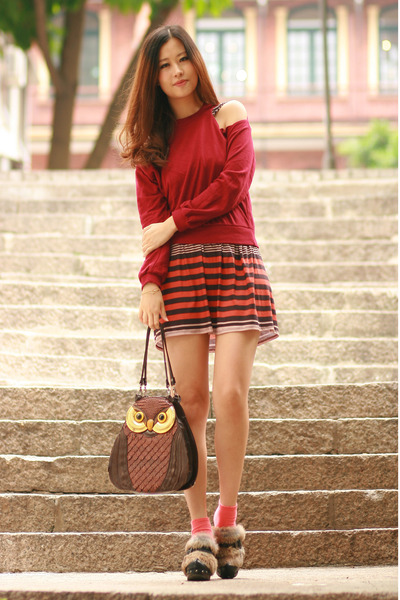burnt orange Love dress - ruby red Yesstyle sweater