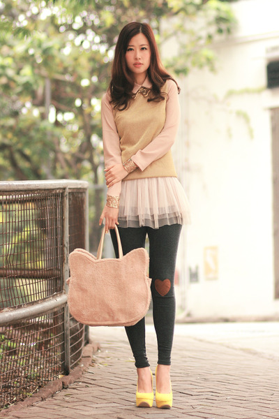 yellow 5bshoes heels - gray yesstye leggings - beige natural colour bag