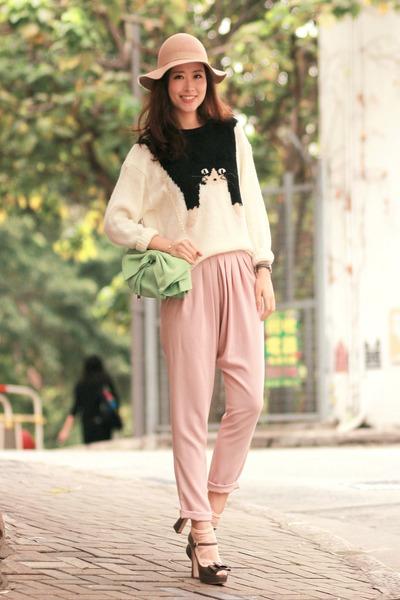ivory Yesstyle sweater - chartreuse RED valentino bag - gray Miu Miu heels
