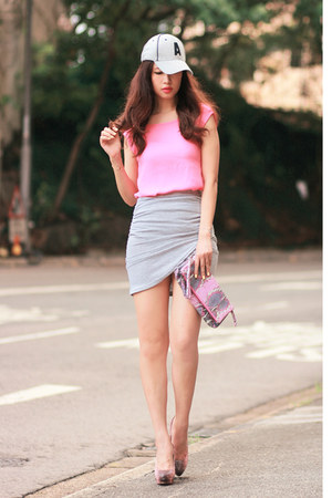 heather gray beckybwardrobe skirt - bubble gum romwe top