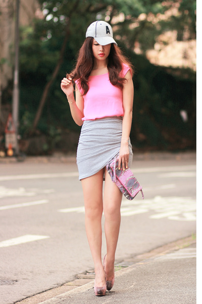 light pink Miu Miu heels - heather gray beckybwardrobe skirt