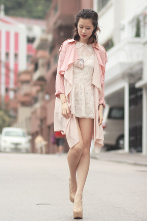 light pink Chicwish coat - ivory Yesstyle dress - dark khaki Choies necklace