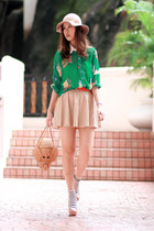 eggshell Zara skirt - beige Monki hat - green yesstylecom shirt