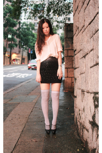 pink H&M shirt - pink H&M skirt - black viktor & rolf shoes