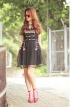 black Chicwish dress - maroon the layers socks - hot pink Monki sunglasses
