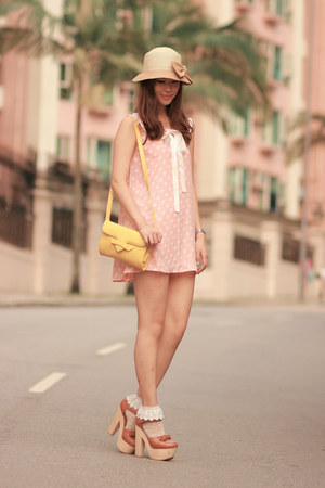 tawny Opening Ceremony heels - light pink Yesstyle dress - yellow romwe bag