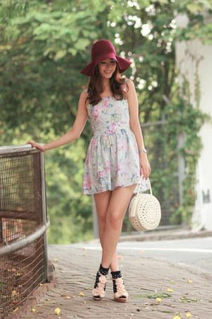 periwinkle Topshop dress - magenta H&M hat - ivory Modekungen bag