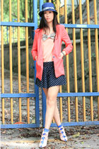 pink yull blazer - pink edwina shoes - blue Uniqlo hat