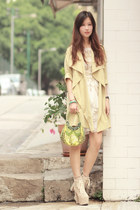 lime green romwe coat - ivory sleeh boots - gold Choies dress