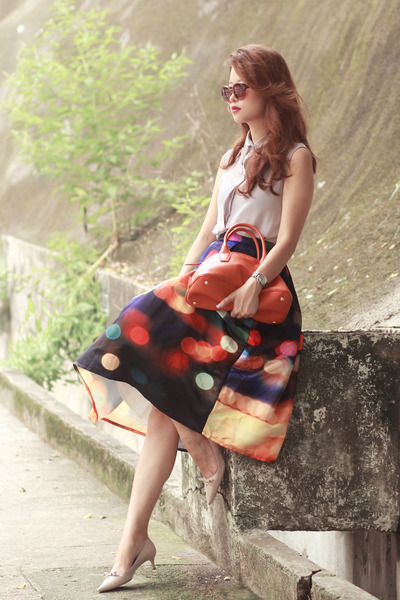 navy Chicwish skirt - orange Miu Miu bag - light purple Style Societal top