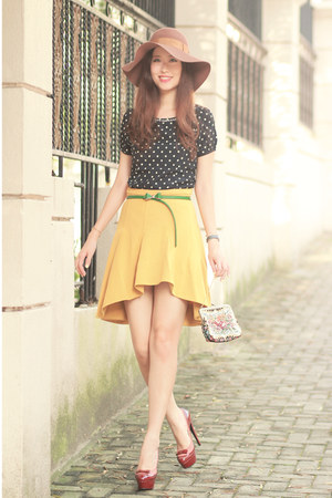 yellow Yesstyle skirt - navy ianywear top - teal romwe belt
