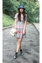 blue Uniqlo hat - gray Melissa shoes - gray cherry princess dress