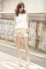 White-choies-bag-ivory-romwe-shorts-lime-green-chicwish-top