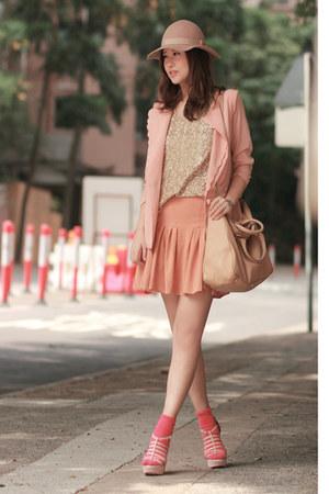 beige Monki hat - nude Fendi bag - hot pink H&M socks