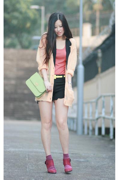 light orange Sonia Rykiel blazer - pink Pull & Bear vest - magenta Millies heels