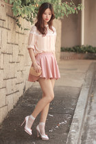 light pink awwdore skirt - neutral Yesstyle top