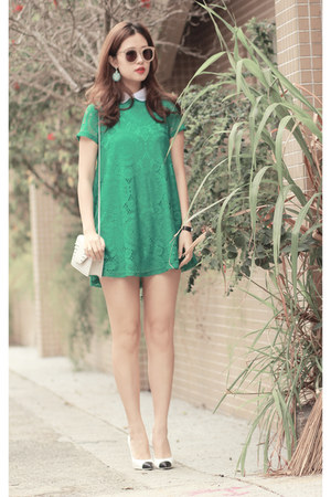 teal romwe dress - lime green romwe earrings - black Chanel heels