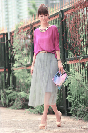 heather gray Choies skirt - light pink romwe bag - magenta Choies top
